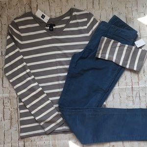 NEW Gap Kids Girls Striped Shirt and Teal Cords 14